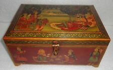 VINTAGE WOODEN KING QUEEN LOVE SEEN PAINTED SECRET DRAWER TRINKET JEWELRY BOX
