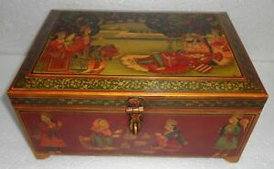 VINTAGE WOODEN KING QUEEN LOVE SEEN PAINTED SECRET DRAWER TRINKET JEWELRY BOX
