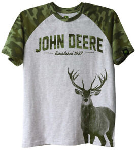 NEW John Deere Gray Green Camo T-Shirt Deer Buck Boys Sizes 8, 10/12, 14/16