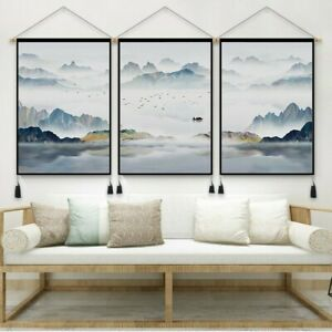 Chinese Lucky Landscape Wall Art Scrolls Hanging Printed Tapestry Decor Fengshui