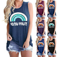 Women's Graphic Good Vibes Tank Tops Casual Summer Shirts Tunics Rainbow T-Shirt
