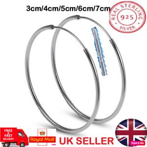 Genuine Solid 925 Sterling Silver 30mm-70mm Smooth Big Hoop Sleeper Earring Pair