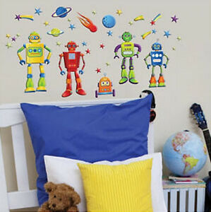 GLITTER PUFF ROBOTS wall stickers 36 colorful decals room decor GLOW IN THE DARK