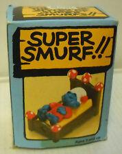#7403 NIB Vintage Schleich Peyo Super Smurf Lying in  Bed