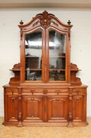 Large Antique French Walnut Renaissance Buffet Cabinet Sideboard