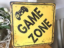 Vintage Retro Style Game Zone Metal Sign, Boys Room Or Man Cave