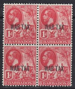 BARBADOS 1917 SG197 1d BRIGHT RED WAR TAX BLOCK OF FOUR MNH