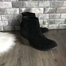 Tony Bianco Womens Ankle Boots Black Suede Booties Stacked Heel Size 6.5