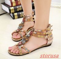 Womens BOHO Ethnic Flats Buckle Strap Floral Printed Casual Shoes Beach Sandals