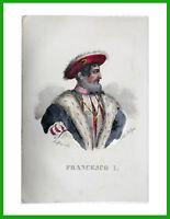 ✅litografia disegnatore Dolfino acquerello FRANCESCO I Re di Francia descrizione