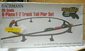 HO BACHMANN 8-PIECE E-Z TRACK TALL PIER SET, #44472 AN TALL PIER SET EASY ASSEMB