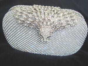 Silver Eagle Diamante Diamond Crystal Evening bag Clutch Purse Party Wedding Eid