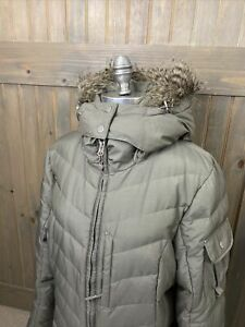 Womens Eddie Bauer Gray Goose Down Long Faux Fur Hooded Puffer Jacket Coat XL