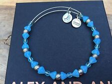 Russian Silver Beaded Bangle Bracelet Alex and Ani Sky Blue Mosaic