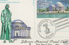VAN NATTA UX144 JEFFERSON MEMORIAL POST CARD HAND PAINTED HP FIRST DAY COVER FDC