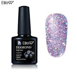 Elite99 10ML Diamond Nail Gel Glitter LED UV Gel Manicure Shiny Sequins Soak Off