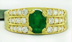 GENUINE 1.03 Cts EMERALD & WHITE SAPPHIRE RING 14K GOLD ** Free Certificate **