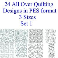 72 PES Files-24 Designs (Set 1) AllOver Machine Embroidery Quilting Designs USB