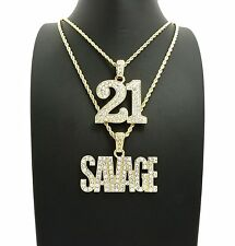 "Hip Hop Iced Out Number 21& SAVAGE Pendant & 24"",30"" Rope Chain 2 Necklace Set"