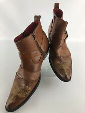 Alfa Mens Western Style Boots | Harley Davidson Buckle | Cross Design |Size 10