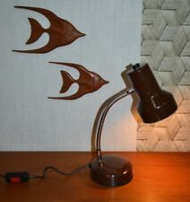 Vintage Veneta Lumi Italie Lampe de Bureau Luminaire Marron Métal Table Chevet