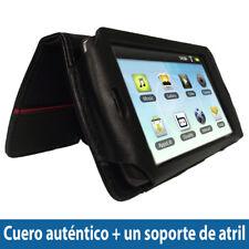 Negro Funda Cuero Auténtico para Archos 43 Internet Tablet Carcasa Case Cover