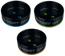 Urban Street Cat & Cats Eyes Black Ceramic Bowl Food or Water Dish for Cats 0.3L