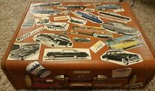 Vintage Samsonite 1950s Suitcase Style 4637 w Automotive Decals Chevy Ford Nash