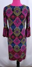 Chico's Shift Dress Size 00 Ruffled 3/4 Sleeves Multi Color