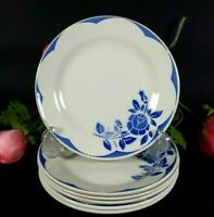 6 Antique French SARREGUEMINES Art Deco CORSICA Luncheon Dessert Plates Blue