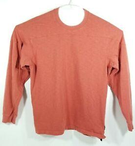 Orvis Mens Large Pullover Sweat Shirt Long Sleeve Sweater Orange 100% Cotton