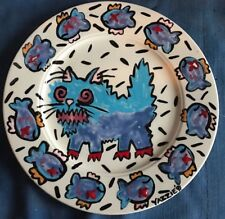 1991 Signed Artist Yazzie Blue Fat Cat Fish Homer Laughlin Plate Emo Seville