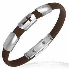 Man Bracelet Rubber Brown Latin Cross