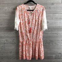 Soieblu Womens Dress Jacquard Crochet Lace Sleeve Tassle Drop Waist Boho Size S