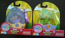 2 Nick Jr. Dora the Explorer Springtime Clipsters Dora & Boots Plush w/ Clip-ons