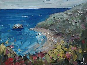 COASTAL LANDSCAPE OIL PAINTING BY ARTIST VIVEK MANDALIA IMPRESSIONISM   10 X 8