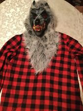 Boys Large 12/14 Amscan Hungry Howler costume top red&black wolf
