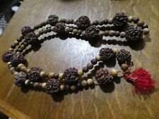 Gorgeous Vintage Art Deco Asian Carved nut / pit & Wood bead necklace, red tasse