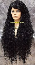 Long Curl Layered Off Black Full Lace Front Wig Heat Ok Hair Piece #1B NWT