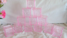 12 Baby Shower Favors - Pink ABC Blocks - Set of 12