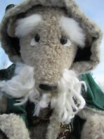"VINTAGE TEDDY BEAR 19"" OOAK ARTIST LAURA OLSON WHITE BEARD ROBE WOMBLE DOLL CUTE"