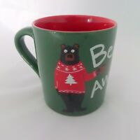 Bearly Awake Hatley Funny Coffee Mug Bear Christmas Sweater Green Red