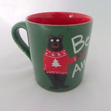 Bearly Awake Hatley Funny Coffee Mug Bear Christmas Sweater Green Red