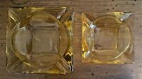 "AMBER ASHTRAYS - SET OF TWO-HEAVY GLASS 6"" AND 4-1/2"" SQUARE-VINTAGE"