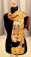100% pure silk scarf (Klimt Adele) 160cm x 42cm. Xmas/Gift wrapping available