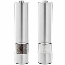 Andrew James AJ000699 Electric Salt and Pepper Mill Set in Stainless Steel