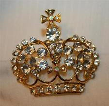 Crystal Rhinestone Crown Brooch Pin Gorgeous Openwork White Cross Topped