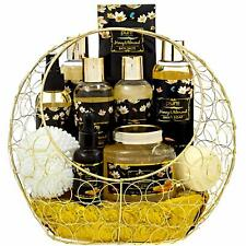 Premium Deluxe Bath & Body Large Spa Basket Honey Almond - New Damaged Packaging