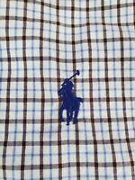Polo Ralph Lauren Shirt Small S Blue Brown White Plaid - RECENT