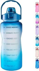 Water Bottle Time Marker Carry Strap Leak-Proof Blue